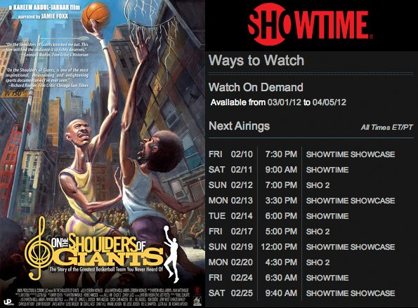 SHOWTIME Schedule