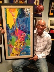 Kareem shows art by LeRoy Neiman