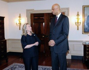 Hilary Clinton and Kareem Abdul-Jabbar