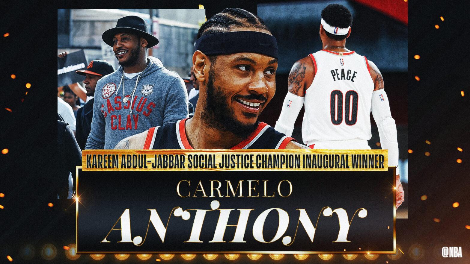 Carmelo Anthony Kareem Abdul-Jabbar Social Justice Champion NBA Award