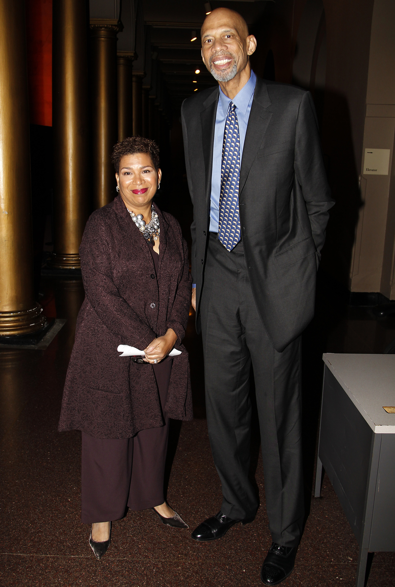 """Michel Martin, left, weekend host of NPR''s """"All Things Considered,"""" poses for a photo with NBA legend Kareem Abdul-Jabbar at the National Building Museum as part of NPR''s annual """"Weekend in Washington"""" on Friday, October 30, 2015 in Washington, DC. (Paul Morigi/AP Images for NPR)"""