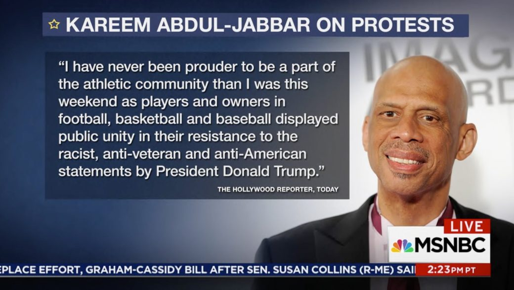 Kareem Abdul-Jabbar Calls NFL Anthem Protests 'Remarkable' (Video)