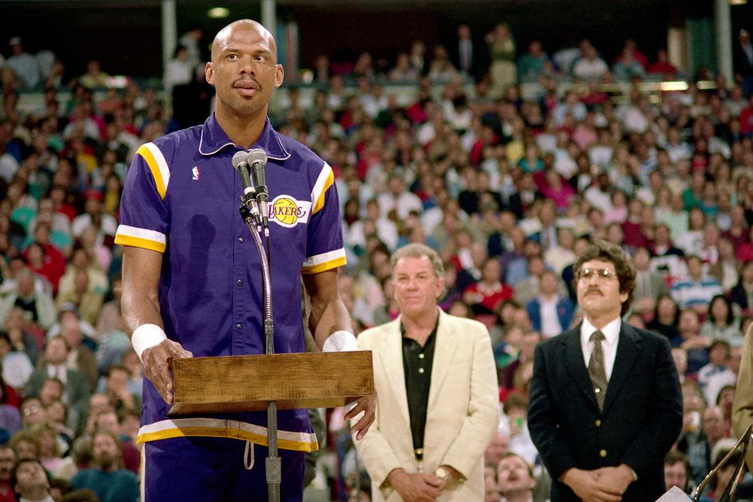 Kareem Abdul Jabbar of the Los Angeles Lakers addresses the crowd during a game played on March 23, 1989 at Arco Arena in Sacramento, California.